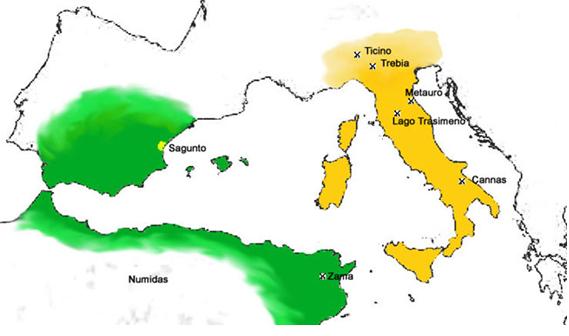 Mapa de las zonas de influencia y las principales batallas de la II Guerra Púnica