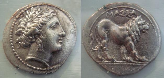 Moneda griega de plata encontrada en Masilia, del siglo V aC