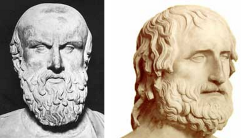 Bustos de Esquilo (izquierda) y Eurípides (derecha)