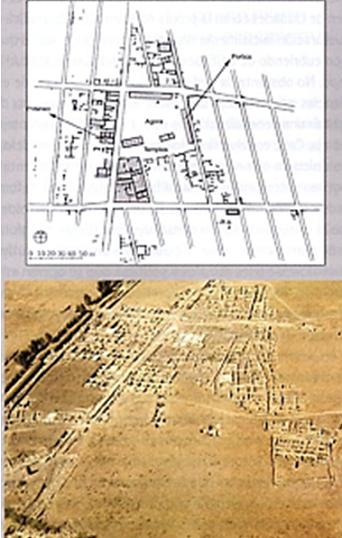 Plano y fotografía real del yacimiento de la ciudad de Megara Hyblaea