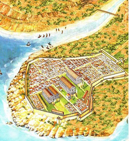 Reconstrucción de cómo debió ser la ciudad de Selinunte