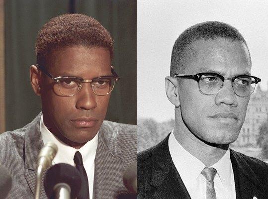 Montaje con Denzel Washington caracterizado (izq) y el verdadero Malcolm X (dcha)