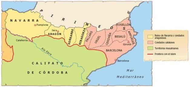 Mapa del noreste de la península Ibérica en la primera mitad del siglo XI, en el remoto origen de Cataluña