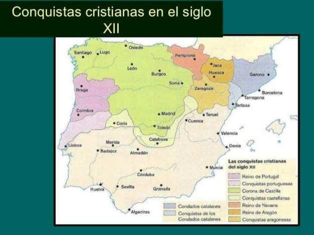 Mapa de la Península Ibérica en la segunda mitad del siglo XII