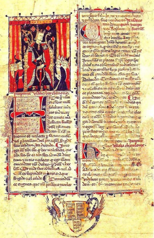 Los Usatges de Barcelona, manuscrito de finales del siglo XIII