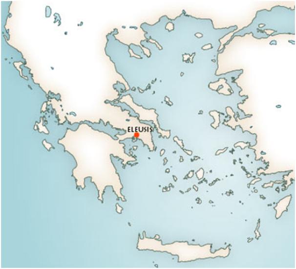 Mapa del mundo griego con la ubicación donde se celebraban los misterios de Eleusis