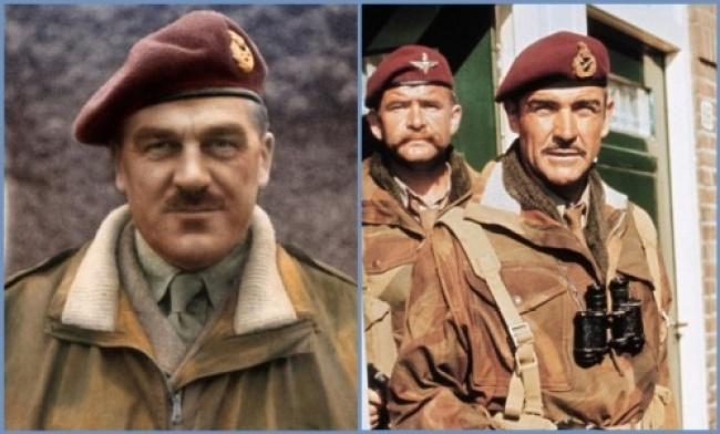 Roy Urquhart en la vida real y el personaje interpretado por Sean Connery
