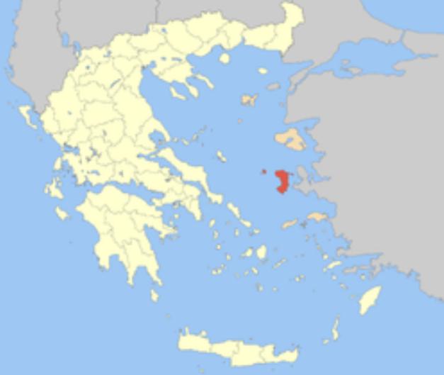 Mapa del mundo helénico con la isla de Quios señalada en rojo