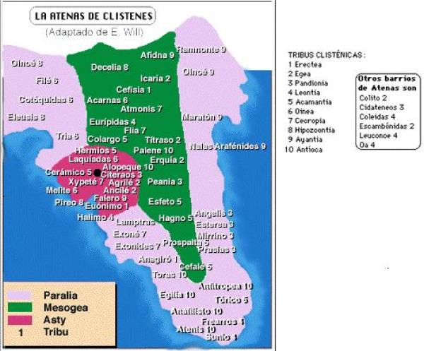 Mapa del Ática con la situación de los demoi, sus correspondientes tribus y las divisiones de costa, ciudad e interior